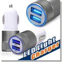 Chargeur de voiture en métal, la plus nouvelle conception Chargeurs de voiture de double USB Chargeur rapide de voiture Chargeur automatique Adaptateur pour Apple iPhone 6 Plus / 6 / 5S / 5 / 4S