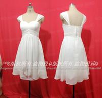 Free Shipping Cap Sleeves Short Chiffon Summer Wedding Dress...