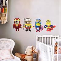 cartoon cute Minions Marvel' s The Avengers design wall ...