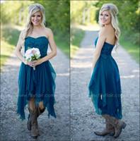 2016 Elegant Sweetheart Chiffon Ruffles Country Bridesmaid D...