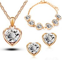 S925 Sterling Silver Plated Jewelry Sets Heart- shaped Crysta...