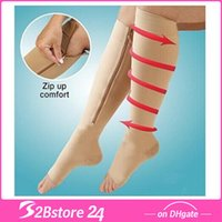 Zip Sox Zip- Up Zippered Compression Knee Supports Stockings ...