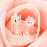Party Jewelry- - 2pairs Lot Lucky Shine Round Pink Fire Opal C...