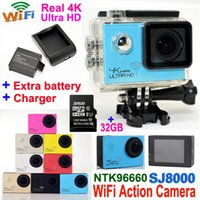 SJ8000 Ультра HD 4K 24fps Спорт Водонепроницаемая камера WIFI Действие камера + карточка TF 32GB 2.0 LCD 1080P 60FPS 16MP шлем видеокамера DVR