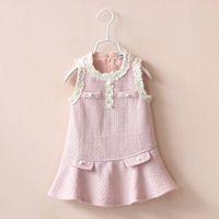 6pcs Lot Kid Girls Crochet Fall Dresses Frilled Sleeve Cute ...