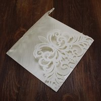 White wed invitations laser cut hollow festival greeting car...