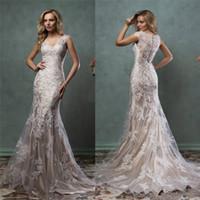 2016 Anna Campbell Lace Wedding Dresses V Neck Sleeveless Me...