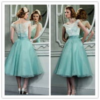 Tea Length Evening Dresses 2015 Mother Dresses Scoop Lace Ru...