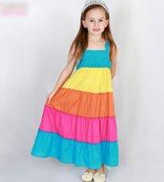 Girls Dresses Girl Wide Striped Rainbow Princess Dress Summe...