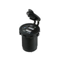 Auto Moto 2 Presa USB Charger Power Adapter Presa Power Smart Phone Charger DC 5V 2.1A / 1A per camion dell'automobile Minibus ATV barche K2764