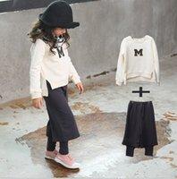 Girls Autumn Sets Outfits Loose M Print T- shirt Tops + Ninth...