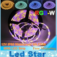 Tira de LED SMD 5050 flexible de luz RGBW 12V RGB + blanco / blanco cálido 60Leds / m impermeable / no tira impermeable 5m / lot