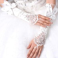 $2. 99 Rhinestone Beads Fingerless Satin Bridal Gloves 2015 I...