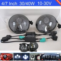 "Hot Sale 2PCS 7"" Inch Cree 30 40W LED Headlight + 2PCS ..."