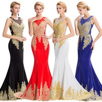 Grace Karin Sleeveless Golden Appliques Ball Gown Evening Pr...