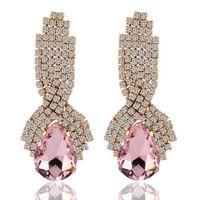 Rhinestone Crystal Earrings Jewelry Big Platinum Plated Dang...