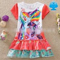 My Little Pony Girls Short Sleeve Summer Dresses Cotton Tull...