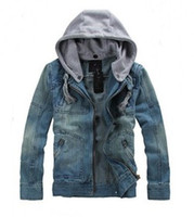 Fashion Men Denim Jackets Long Sleeve With Removable Hat Was...