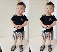 Summer children clothing set baby boy set short Plaid O- neck...