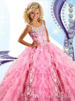 Довольно розовый Organza Glitz Pageant платья для девочек 2015 Спагетти из бисера Кристаллы оборками Прекрасные ярусами девушки вечерние платья RG6454