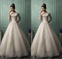 2015 Wedding Dresses Amelia Sposa High Neck Sheer 3 4 Long S...