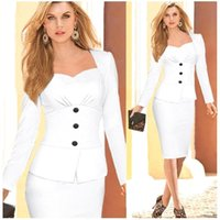 New Fall False Two Pieces Long Sleeve Wear to Work Dresses S...