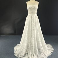 Two Piece Lace Wedding Dress 2016 Court Train Scoop Neck 2 P...