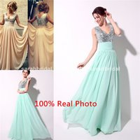 2015 Real Photo Mint Chiffon Prom Dresses Sequin V- Neck Lace...