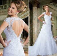 2015 Wedding Dresses Backless Mermaid Wedding Dress with Cap...