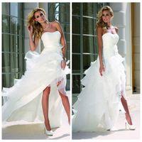 Ladybird 55097 Пляж Свадебные платья Изогнутые декольте Высокий Низкий Белый органзы атласная Backless рукавов Каскадные Ruffles Свадебные платья
