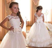 White Ivory 2016 Flower Girl Dresses For Weddings A- line Cap...
