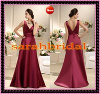 2015 Burgundy Elastic Satin A- Line Bridesmaid Dresses Cheap ...