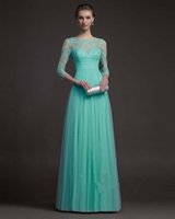 3 4 Long Sleeved Bidesmaids Gowns Dresses Mint Tulle Sheer L...