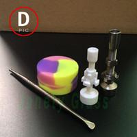 2015 Date tuyau de Wate de verre de l'ongle 14mm / 18mm GR2 de titane de couleur en verre dépoli avec Titanium Dabber et rond en céramique pot de cire de Nail Shape Silicone