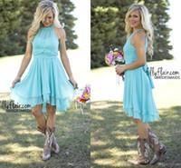 Designer Cheap Country Bridesmaid Dresses Short 2016 Sky Blu...