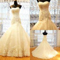 2015 Sweetheart Lace Applique Mermaid Wedding Dresses Vintag...