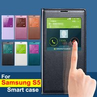 Top Quality Window Flip Leather Case for Samsung S5 case Bat...