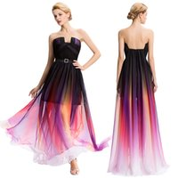 Grace Karin Strapless Gradient Backless Gradual Change Color...