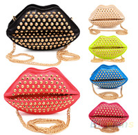 Fashion Candy Color Rivet Punk Red lips Bag day clutch queen...