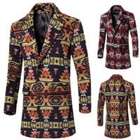 2015 autumn men wool trench coat slim fit long coats Geometr...