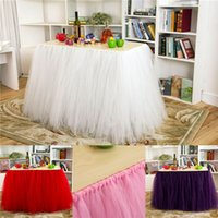 Cheap Tulle Table Skirts Tutu Table Cloth Decorations for We...