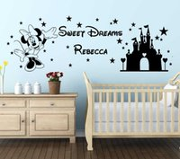 Lovely Mouse Cartoon Wall Decal Personalised Princess Name W...