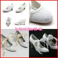 White Ivory Lace Wedding Shoes Wedges For Elegant Brides 5CM...