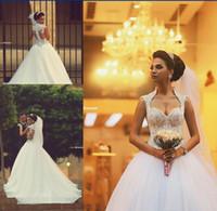 2015 платья Милая Саудовская арабские Backless Зимние свадебные платья молния назад аппликации из бисера лиф Sheer бальное платье из органзы Люкс