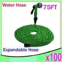 DHL 100PCS TUYAU flexible d'eau flexible flexible flexible d'eau souple avec robinet et buse de pulvérisation 75FT ZY-SG-02