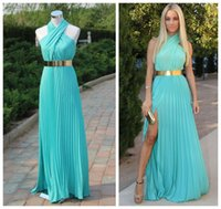 2015 Fashion Turquoise And Gold Belt Evening Gowns Halter Pl...