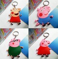 Anime Cartoon Pink Pig Toys Keychains PVC Key Chains Pendant...