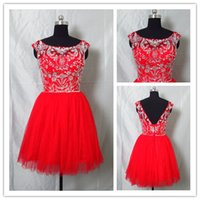 2015 Real Images Cocktail Dresses With Crystal Bead Mini Tul...