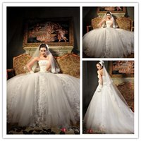 2015 Luxury Cathedral Train Lace Wedding Dresses With Crysta...