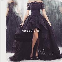 2015 Арабский Черное кружево платья выпускного вечера Высокий Низкий с плеча с коротким рукавом рябить Sheer шеи тюль Vintage партии платья официально платье вечера